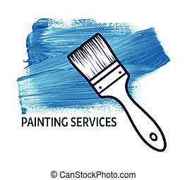 Vector concept for house painting services with brush
