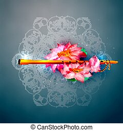 Vector concept hare krishna lotus and flute. - Lord Krishna...