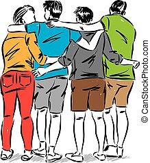 vector, concept, illustratie, vrienden, vriendschap