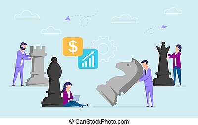 Vector Concept Illustration In Flat Style Of Businessmen Moving Big Chess Pieces. Working Strategy, Business Plan Notion. Cartoon Male And Female Characters On Blue Background With Infographic Items