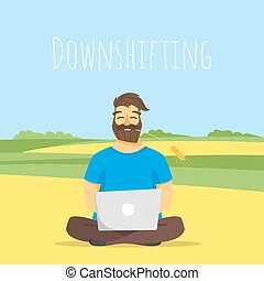 Vector concept illustration of downshifting.