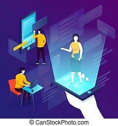 Vector concept illustration - online assistant