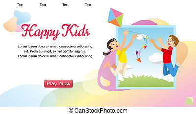 Vector concept image playing happy kids