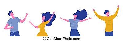 vector, concept, karakters, mensen, dans, tieners, moderne, mannelijke nakomeling, illustratie, sportende, achtergrond., set, vrouwlijk, students., modieus, witte , team, vriendschap, feestje, vrolijke