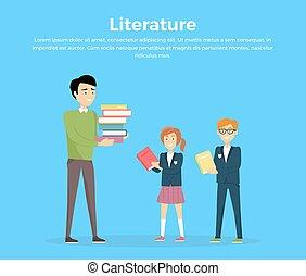 vector, concept, lezende , literatuur, illustration.