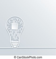 Vector  concept light bulb with circuit board