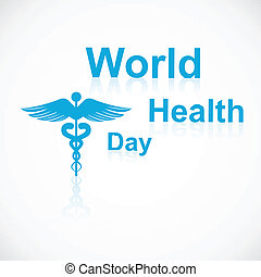 Vector concept medical background on caduceus medical symbol reflection world health day