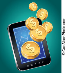 Vector concept - mobile phone and gold coins