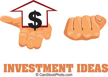 Vector concept of addiction to choose investment ideas and growth. Hands in one fingers bent closed and other opened to choose a surprise. Home sign and dollar icon in hand