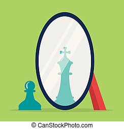 vector concept of chess reflection in a mirror