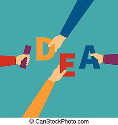 Vector concept of creative teamwork