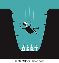 Vector concept of debt pit in flat cartoon style