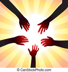 vector concept of friendly hands around sun