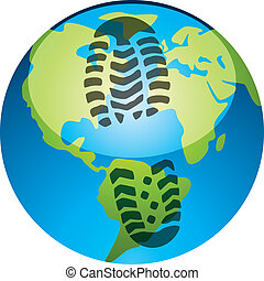 vector concept of global footprint