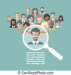 Vector concept of human resources management, professional staff research, head hunter job with magnifying glass.