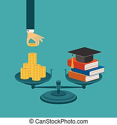 Vector concept of investment in education with coins books...