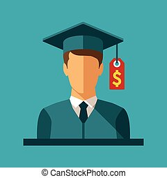 Vector concept of investment in education with student and...
