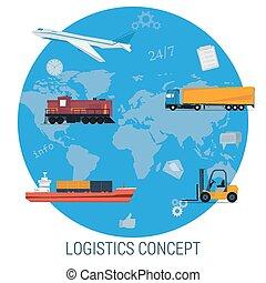 Vector concept of logistics global transportation