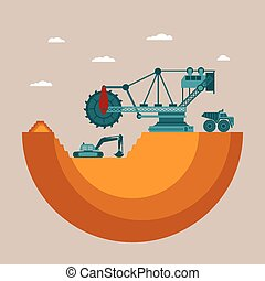 Vector concept of mine at mineral deposit place with waste...