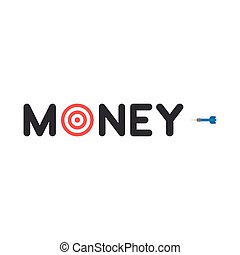 Vector concept of money text with bulls eye and dart on white with flat design style