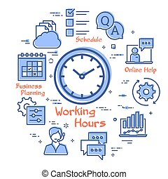 Vector concept of online support - working hours icon - ...