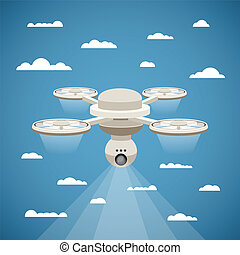 Vector concept of quadcopter air drone with video cam