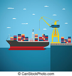 Vector concept of river ocean and sea freight shipping by ...