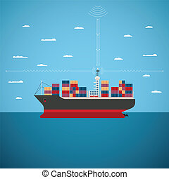 Vector concept of river ocean and sea freight shipping by water