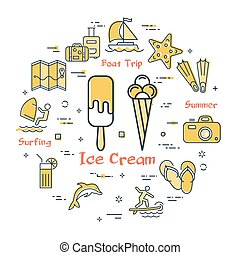 Vector concept of summertime with ice cream