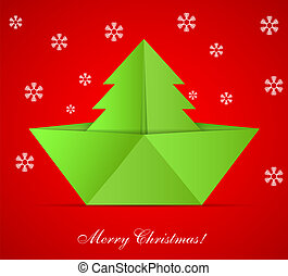Vector concept of the Christmas tree and origami boat. Eps 10
