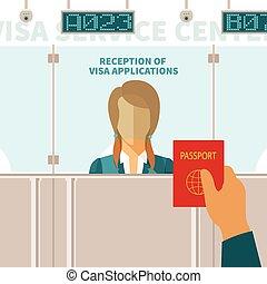 Vector concept of visa service center