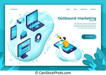 Vector concept outbound marketing man with speaker - Vector ...