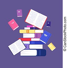 vector, concept, readers., bibliotheek, books., vliegen, intellectueel, literatuur, stapel, lezende , opleiding, boek, studiebeurs