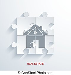 vector concept real estate with puzzle.