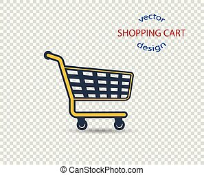 Vector concept shopping cart with shadow, icon, flat style. The design element is isolated on a transparent background.