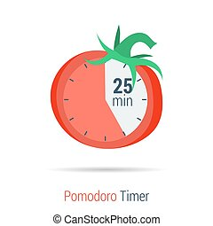 Pomodoro timer flat icon - Vector concept time managment. ...