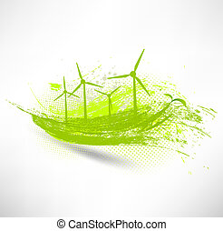 vector, concept, turbines, wind