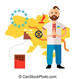Vector Concept Ukraine crisis. Flat style colorful Cartoon illustration.