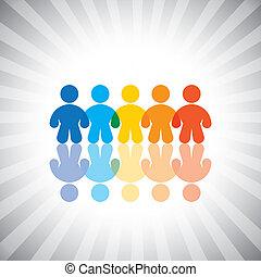 vector, concepto, amistad, colorido, icons(symbols)., graphic-, conceptos, trabajador, unido, ilustración, o, etc, niños, comunidad, trabajo en equipo, togetherness, grupos, exposiciones, niños, como