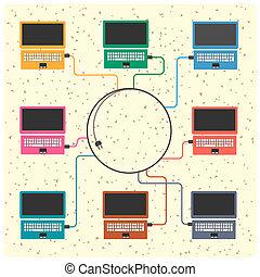 vector, concepto, de, red