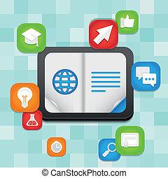 vector, concepto, educación, en línea