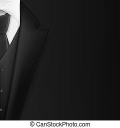 vector, concepto, esmoquin, mens, realista, suit., triunfe, juego negro, hombre de negocios