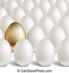 vector, concepto, huevo, oro