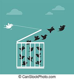 vector, concepto, libertad, imagen, exterior, cage., enjaule pájaro