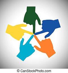 vector, concepto, muchas manos, -, unidad, conmovedor, uno ...