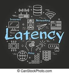 vector, concepto, negro, internet, redondo, latency