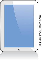 vector, concepto, tableta, posdata, ipad., no,...