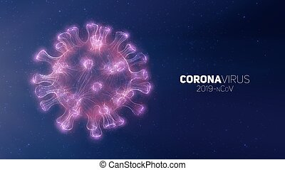 Vector conceptual Coronavirus illustration. 3d virus form on a abstract background. Pathogen visualization. Design for banner information, flyer, poster, etc.