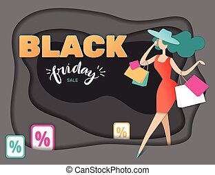 Vector conceptual illustration. Black friday sale, banner. Paper