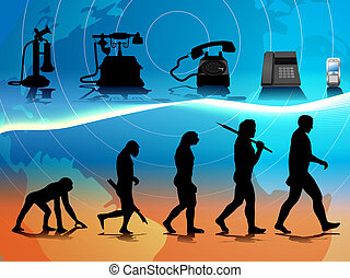 phone evolution - vector conceptual illustration comparing...